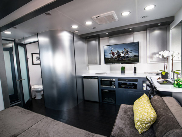 Interior of 2 Room Studio Talent Trailer