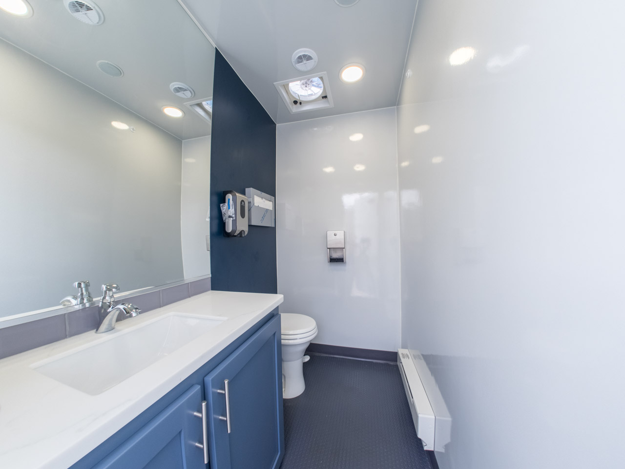 Interior of Mobile Restroom Trailer